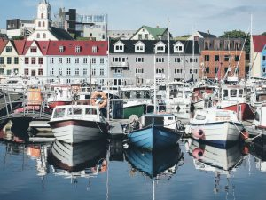 Boats at the harbor in Torshavn